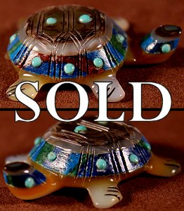 Andrew & Laura Quam | Abalone & Calsilica | Turtle | Price:  $60. +  $8.50  domestic shipping | Texas sales tax applies to Texas Residents! | CLICK  IMAGE for more views & information. | Authentic Zuni fetish
