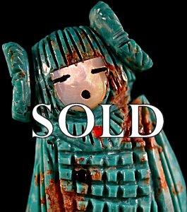 Faye Quandelacy  | Turquoise  | Double maidens  | Price: $275. +  $11.00  domestic shipping | Texas sales tax applies to Texas Residents! | CLICK  IMAGE for more views & information. | Authentic Zuni fetishes direct from Zuni Pueblo to YOU from Zunispirits.com!