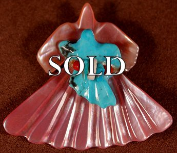 Lavies & Daisy Natewa | Pink Shell- Turquoise   | Double Birds  | Price: $65. +  $9.25  domestic shipping | Texas sales tax applies to Texas Residents! | CLICK  IMAGE for more views & information. | Authentic Zuni fetishes direct from Zuni Pueblo to YOU from Zunispirits.com!