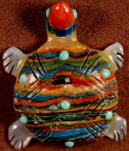 Andrew & Laura Quam  | Rainbow Calsilica  |  Turtle  | Price: $60. +  $9.25  domestic shipping | Texas sales tax applies to Texas Residents! | CLICK  IMAGE for more views & information. | Authentic Zuni fetishes direct from Zuni Pueblo to YOU from Zunispirits.com!