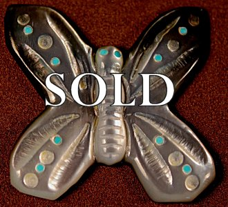 Clissa Martin | Black-lipped Mother-of-pearl  |  Buterfly  |  Price WAS: $45.  |  SALE PRICE:  $32.  +  $8.50  domestic shipping | Texas sales tax applies to Texas Residents! | CLICK  IMAGE for more views & information. | Authentic Zuni fetishes direct from Zuni Pueblo to YOU from Zunispirits.com!