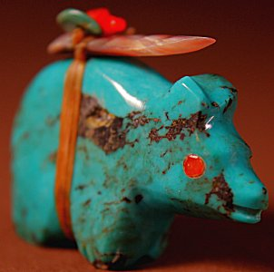 Lena Boone  | Turquoise   | Bear   | Price: $45. +  $8.50  domestic shipping | Texas sales tax applies to Texas Residents! | CLICK  IMAGE for more views & information. | Authentic Zuni fetishes direct from Zuni Pueblo to YOU from Zunispirits.com!