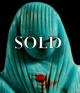 Chad Quandelacy | Turquoise | Double Corn Maiden | Price WAS:  $75. |  SALE PRICE:$54.  +  $8.50  domestic shipping | Texas sales tax applies to Texas Residents! | CLICK  IMAGE for more views & information. | Authentic Zuni fetish