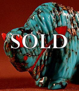 Andres Quandelacy | Turquoise | Buffalo | Price:  $120. +  $10.00  domestic shipping | Texas sales tax applies to Texas Residents! | CLICK  IMAGE for more views & information. | Authentic Zuni fetish