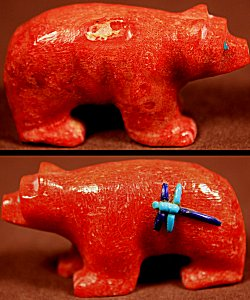 Clissa Martin  | Apple Coral  | Inlaid Bear  | Price: $72. +  $9.25  domestic shipping | Texas sales tax applies to Texas Residents! | CLICK  IMAGE for more views & information. | Authentic Zuni fetishes direct from Zuni Pueblo to YOU from Zunispirits.com!