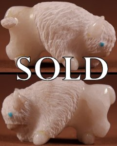 Vince Chavez  | White Alabaster  |  Buffalo  | Price: $60. +  $9.25  domestic shipping | Texas sales tax applies to Texas Residents! | CLICK  IMAGE for more views & information. | Authentic Zuni fetishes direct from Zuni Pueblo to YOU from Zunispirits.com!