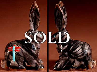 Clissa Martin | Picasso Marble   | Jackrabbit   | Price: $125. +  $10.00  domestic shipping | Texas sales tax applies to Texas Residents! | CLICK  IMAGE for more views & information. | Authentic Zuni fetishes direct from Zuni Pueblo to YOU from Zunispirits.com!