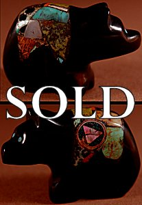 Jayne Quam | Jet   | Inlaid Bear  | Price: $95. +  $9.25  domestic shipping | Texas sales tax applies to Texas Residents! | CLICK  IMAGE for more views & information. | Authentic Zuni fetishes direct from Zuni Pueblo to YOU from Zunispirits.com!