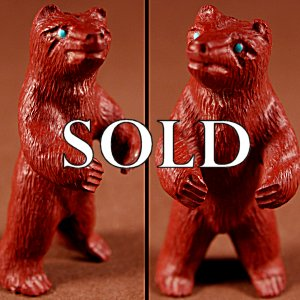 Herbert Him, Sr | Pipestone   | Standing Bear   | Price: $225. +  $11.25  domestic shipping | Texas sales tax applies to Texas Residents! | CLICK  IMAGE for more views & information. | Authentic Zuni fetishes direct from Zuni Pueblo to YOU from Zunispirits.com!
