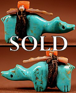 Rignie (d.) & Lena Boone  | Turquoise  | Bobcat  | Price: $150. +  $10.00  domestic shipping | Texas sales tax applies to Texas Residents! | CLICK  IMAGE for more views & information. | Authentic Zuni fetishes direct from Zuni Pueblo to YOU from Zunispirits.com!