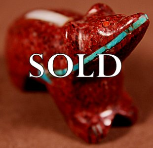 Rignie Boone (d.) | Red Serpentine  | Inlaid Bear  | Price: $365. +  $12.50  domestic shipping | Texas sales tax applies to Texas Residents! | CLICK  IMAGE for more views & information. | Authentic Zuni fetishes direct from Zuni Pueblo to YOU from Zunispirits.com!