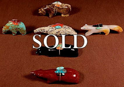 Stewart Quandelacy  | Various Stones  | Directional Set  | Price: $695. +  $15.75  domestic shipping | Texas sales tax applies to Texas Residents! | CLICK  IMAGE for more views & information. | Authentic Zuni fetishes direct from Zuni Pueblo to YOU from Zunispirits.com!
