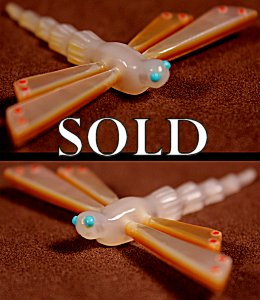 Clissa Martin  | Gold-lipped Mother-of-pearl  | Dragonfly  | Price: $75. +  $9.25  domestic shipping | Texas sales tax applies to Texas Residents! | CLICK  IMAGE for more views & information. | Authentic Zuni fetishes direct from Zuni Pueblo to YOU from Zunispirits.com!