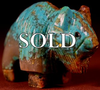 Fabian Tsethlikai | Turquoise   | Buffalo  | Price: $125. +  $10.00  domestic shipping | Texas sales tax applies to Texas Residents! | CLICK  IMAGE for more views & information. | Authentic Zuni fetishes direct from Zuni Pueblo to YOU from Zunispirits.com!