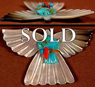 LaVies & Daisy Natewa | Black-lipped Mother-of-pearl &Turquoise  | Double Birds | Price: $125. +  $10.00   domestic shipping | Texas sales tax applies to Texas Residents! | CLICK  IMAGE for more views & information. | Authentic Zuni fetishes direct from Zuni Pueblo to YOU from Zunispirits.com!
