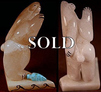 Rickson Kalestewa  | White Alabaster  | Standing Cola Bear |  Price WAS: $95.  |  SALE PRICE:  $60.   +  $9.25  domestic shipping | Texas sales tax applies to Texas Residents! | CLICK  IMAGE for more views & information. | Authentic Zuni fetishes direct from Zuni Pueblo to YOU from Zunispirits.com!
