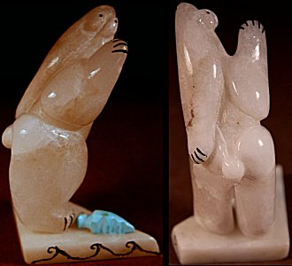 Rickson Kalestewa  | White Alabaster  | Standing Cola Bear  | Price: $95. +  $9.25  domestic shipping | Texas sales tax applies to Texas Residents! | CLICK  IMAGE for more views & information. | Authentic Zuni fetishes direct from Zuni Pueblo to YOU from Zunispirits.com!
