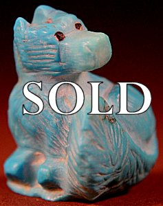 Jerold Laheleon  | Turquoise  | Wolf   | Price WAS: $65.  |  SALE PRICE:  $45.   $8.50  domestic shipping | Texas sales tax applies to Texas Residents! | CLICK  IMAGE for more views & information. | Authentic Zuni fetishes direct from Zuni Pueblo to YOU from Zunispirits.com!