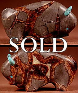 Lynn Quam | Septarian Nodule  | Buffalo  | Price: $125. +  $10.00  domestic shipping | Texas sales tax applies to Texas Residents! | CLICK  IMAGE for more views & information. | Authentic Zuni fetishes direct from Zuni Pueblo to YOU from Zunispirits.com!
