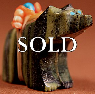 Tony Laiwakete | Ricolite  | Bear  | Price WAS: $42.  |  SALE PRICE:  $32. +  $8.50  domestic shipping | Texas sales tax applies to Texas Residents! | CLICK  IMAGE for more views & information. | Authentic Zuni fetishes direct from Zuni Pueblo to YOU from Zunispirits.com!
