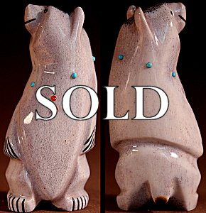 Claudia Peina  | Antler  | Standing Bear   | Price: $75. +  $9.25  domestic shipping | Texas sales tax applies to Texas Residents! | CLICK  IMAGE for more views & information. | Authentic Zuni fetishes direct from Zuni Pueblo to YOU from Zunispirits.com!