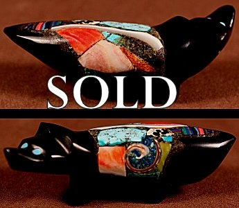 Jayne Quam  | Jet  | Inlaid Wolf  | Price: $135. +  $10.00  domestic shipping | Texas sales tax applies to Texas Residents! | CLICK  IMAGE for more views & information. | Authentic Zuni fetishes direct from Zuni Pueblo to YOU from Zunispirits.com!