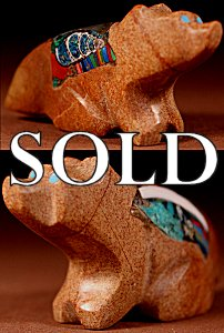 Jayne Quam | Zuni Rock   | Inlaid Wolf   | Price: $135. +  $10.00  domestic shipping | Texas sales tax applies to Texas Residents! | CLICK  IMAGE for more views & information. | Authentic Zuni fetishes direct from Zuni Pueblo to YOU from Zunispirits.com!