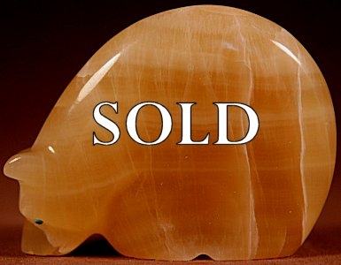 Vernon Lunasee & Prudencia Quam  | Yellow Calcite  | Medicine Bear  | Price: $95. +  $9.25  domestic shipping | Texas sales tax applies to Texas Residents! | CLICK  IMAGE for more views & information. | Authentic Zuni fetishes direct from Zuni Pueblo to YOU from Zunispirits.com!