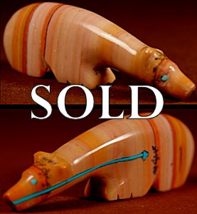 Priscilla Lasiloo  | Dolomite  | Long-neck Medicine Bear  | Price WAS: $95.  |  SALE PRICE:  $65. +  $9.25  domestic shipping | Texas sales tax applies to Texas Residents! | CLICK  IMAGE for more views & information. | Authentic Zuni fetishes direct from Zuni Pueblo to YOU from Zunispirits.com!