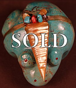 Anderson Weahkee (d.) | Turquoise  | Huge Bullfrog  | Price: $750. +  $17.00  domestic shipping | Texas sales tax applies to Texas Residents! | CLICK  IMAGE for more views & information. | Authentic Zuni fetishes direct from Zuni Pueblo to YOU from Zunispirits.com!