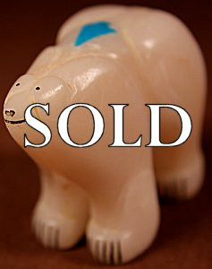 Rickson Kalestewa (1983)  | White Alabaster  | Inlaid Cola Bear | Price: $225. +  $11.25  domestic shipping | Texas sales tax applies to Texas Residents! | CLICK  IMAGE for more views & information. | Authentic Zuni fetishes direct from Zuni Pueblo to YOU from Zunispirits.com!