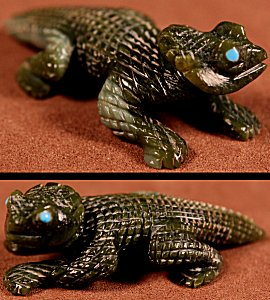 Karen Zunie  | Serpentine  | Horned Frog  | Price WAS: $95.  |  SALE PRICE: $65. +  $9.25  domestic shipping | Texas sales tax applies to Texas Residents! | CLICK  IMAGE for more views & information. | Authentic Zuni fetishes direct from Zuni Pueblo to YOU from Zunispirits.com!