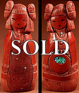 Kateri Sanchez Quandelacy  | Pipestone  | Double Corn Maidens  | Price: $350. +  $12.50  domestic shipping | Texas sales tax applies to Texas Residents! | CLICK  IMAGE for more views & information. | Authentic Zuni fetishes direct from Zuni Pueblo to YOU from Zunispirits.com!