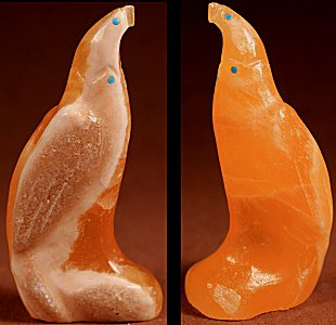Alvin Calavaza | Honey Calcite  | Eagle  | Price: $135. +  $10.00  domestic shipping | Texas sales tax applies to Texas Residents! | CLICK  IMAGE for more views & information. | Authentic Zuni fetishes direct from Zuni Pueblo to YOU from Zunispirits.com!