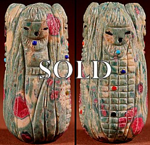 Sandra Quandelacy |  Ruby in Zoisite  | Four Maidens  | Price: $175. +  $10.00  domestic shipping | Texas sales tax applies to Texas Residents! | CLICK  IMAGE for more views & information. | Authentic Zuni fetishes direct from Zuni Pueblo to YOU from Zunispirits.com!