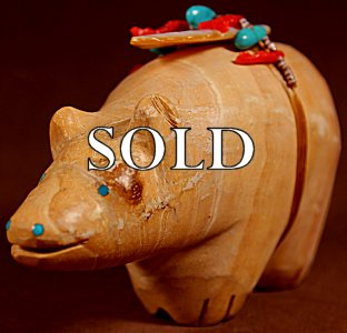 Pete(d.)and Dinah Gasper | Zuni Sandstone  | Giant Table Bear  | Price: $750. +  $16.50  domestic shipping | Texas sales tax applies to Texas Residents! | CLICK  IMAGE for more views & information. | Authentic Zuni fetishes direct from Zuni Pueblo to YOU from Zunispirits.com!