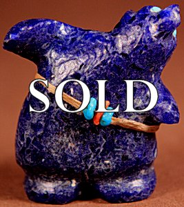 Claudia Peina | Gem Afghan Lapis  | Singing Bear  | Price: $95. +  $9.25  domestic shipping | Texas sales tax applies to Texas Residents! | CLICK  IMAGE for more views & information. | Authentic Zuni fetishes direct from Zuni Pueblo to YOU from Zunispirits.com!