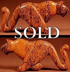 Ernie Mackel  | Vietnamese Jasper  | Running Mountain Lion  | Price: $95. +  $9.25  domestic shipping | Texas sales tax applies to Texas Residents! | CLICK  IMAGE for more views & information. | Authentic Zuni fetishes direct from Zuni Pueblo to YOU from Zunispirits.com!