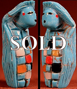 Yancy Robert Halusewa  | Turquoise  | Corn Maiden  | Price: $65. +  $9.25 domestic shipping | Texas sales tax applies to Texas Residents! | CLICK  IMAGE for more views & information. | Authentic Zuni fetishes direct from Zuni Pueblo to YOU from Zunispirits.com!