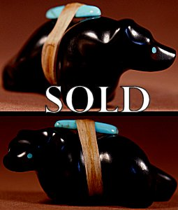 Herb Halate | Jet  | Walking Bear  | Price: $48. +  $8.50  domestic shipping | Texas sales tax applies to Texas Residents! | CLICK  IMAGE for more views & information. | Authentic Zuni fetishes direct from Zuni Pueblo to YOU from Zunispirits.com!