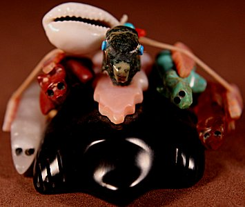 Jayne Quam  | Various Stones  | Directional Mole  | Price: $125. +  $10.00  domestic shipping | Texas sales tax applies to Texas Residents! | CLICK  IMAGE for more views & information. | Authentic Zuni fetishes direct from Zuni Pueblo to YOU from Zunispirits.com!