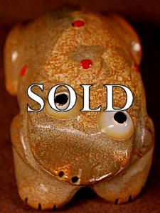 Freddie Leekya | Zuni Rock  | Bug-eye Frog  | Price: $54. +  $9.25  domestic shipping | Texas sales tax applies to Texas Residents! | CLICK  IMAGE for more views & information. | Authentic Zuni fetishes direct from Zuni Pueblo to YOU from Zunispirits.com!