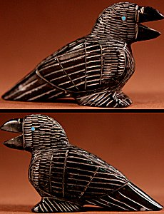 Ernie Mackel  | Black Marble  | Raven  | Price: $48. +  $8.50  domestic shipping | Texas sales tax applies to Texas Residents! | CLICK  IMAGE for more views & information. | Authentic Zuni fetishes direct from Zuni Pueblo to YOU from Zunispirits.com!