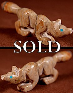Brian Yatsattie  | Picasso Marble  | Wolf  | Price: $48. +  $8.50  domestic shipping | Texas sales tax applies to Texas Residents! | CLICK  IMAGE for more views & information. | Authentic Zuni fetishes direct from Zuni Pueblo to YOU from Zunispirits.com!