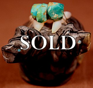 Al Lasiloo  |  Picasso Marble  | Double Bears| Price: $65. +  $9.25   domestic shipping | Texas sales tax applies to Texas Residents! | CLICK  IMAGE for more views & information. | Authentic Zuni fetishes direct from Zuni Pueblo to YOU from Zunispirits.com!