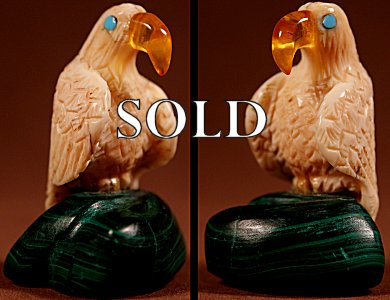 Burt Awelagte  | Fishrock & Malachite | Eagle on a Boulder  | Price: $54. +  $9.25   domestic shipping | Texas sales tax applies to Texas Residents! | CLICK  IMAGE for more views & information. | Authentic Zuni fetishes direct from Zuni Pueblo to YOU from Zunispirits.com!
