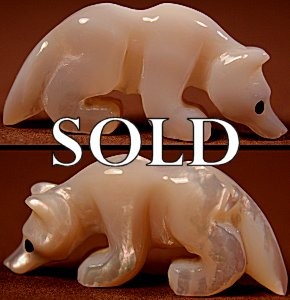 Brian Yatsattie  | Mother-of-pearl  | Wolf  | Price: $54. +  $9.25  domestic shipping | Texas sales tax applies to Texas Residents! | CLICK  IMAGE for more views & information. | Authentic Zuni fetishes direct from Zuni Pueblo to YOU from Zunispirits.com!