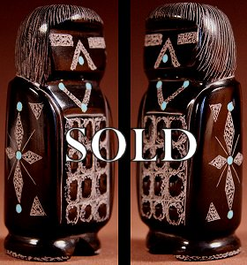 Patrick Wallace  | Black Marble  | Sgraffito Corn Maiden  | Price WAS: $48.  |  SALE PRICE:  $36. +  $8.50  domestic shipping | Texas sales tax applies to Texas Residents! | CLICK  IMAGE for more views & information. | Authentic Zuni fetishes direct from Zuni Pueblo to YOU from Zunispirits.com!