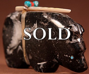 Leland Boone | Fossil Marble  | Medicine Bear  | Price: $75. +  $9.25  domestic shipping | Texas sales tax applies to Texas Residents! | CLICK  IMAGE for more views & information. | Authentic Zuni fetishes direct from Zuni Pueblo to YOU from Zunispirits.com!