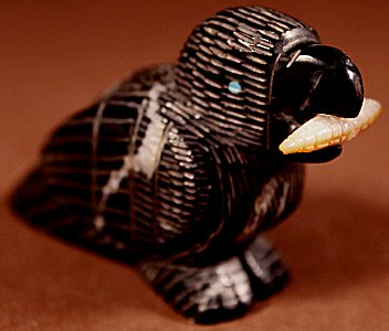Ernie Mackel  | Black Marble  | Raven with Corn  | Price: $54. +  $9.25  domestic shipping | Texas sales tax applies to Texas Residents! | CLICK  IMAGE for more views & information. | Authentic Zuni fetishes direct from Zuni Pueblo to YOU from Zunispirits.com!